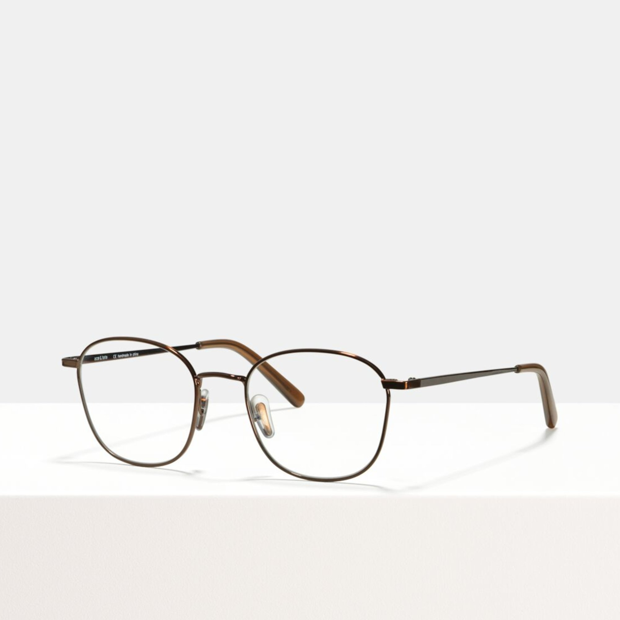 Ace & Tate Glasses | square metal in Brown