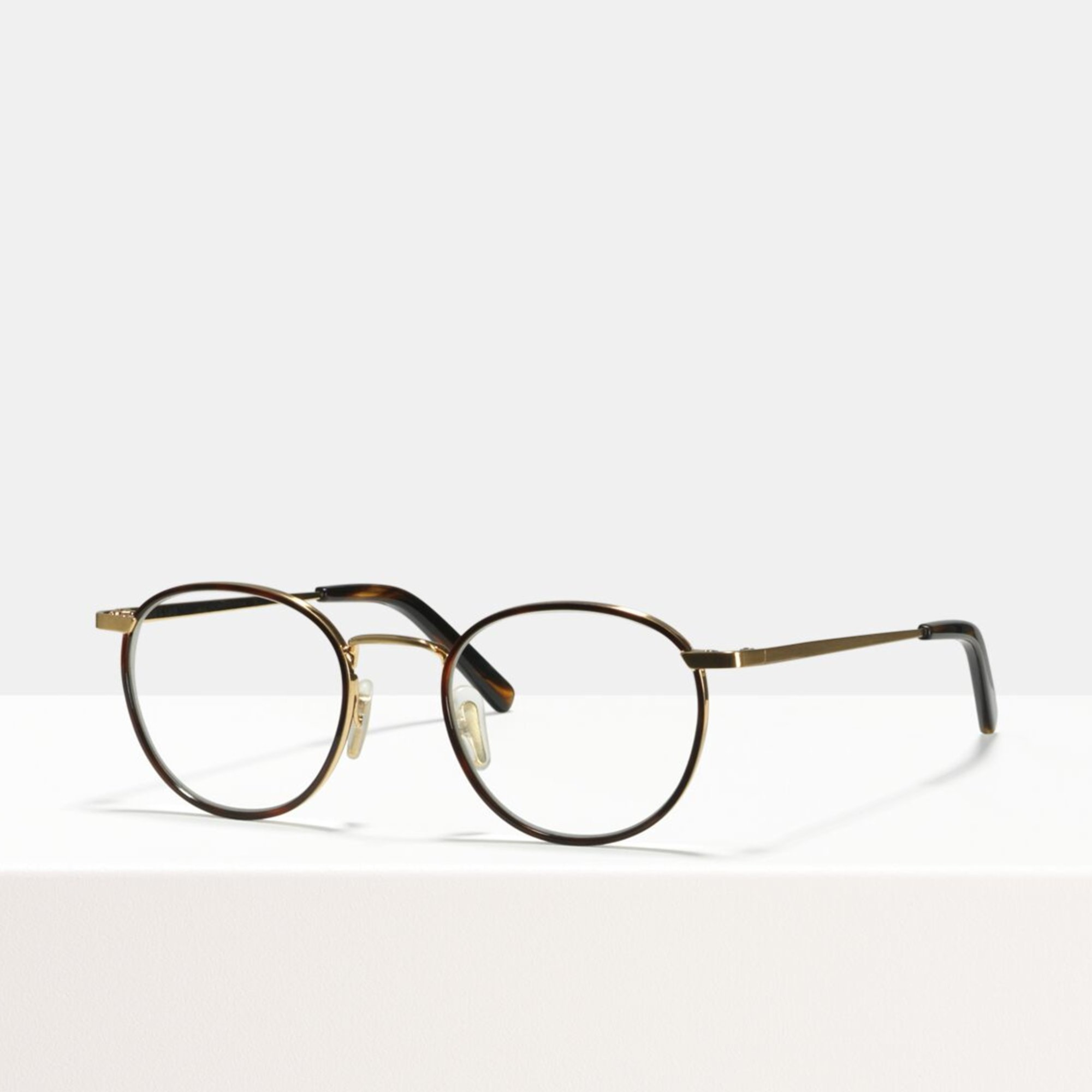 Ace & Tate Glasses | round metal in Beige, Brown