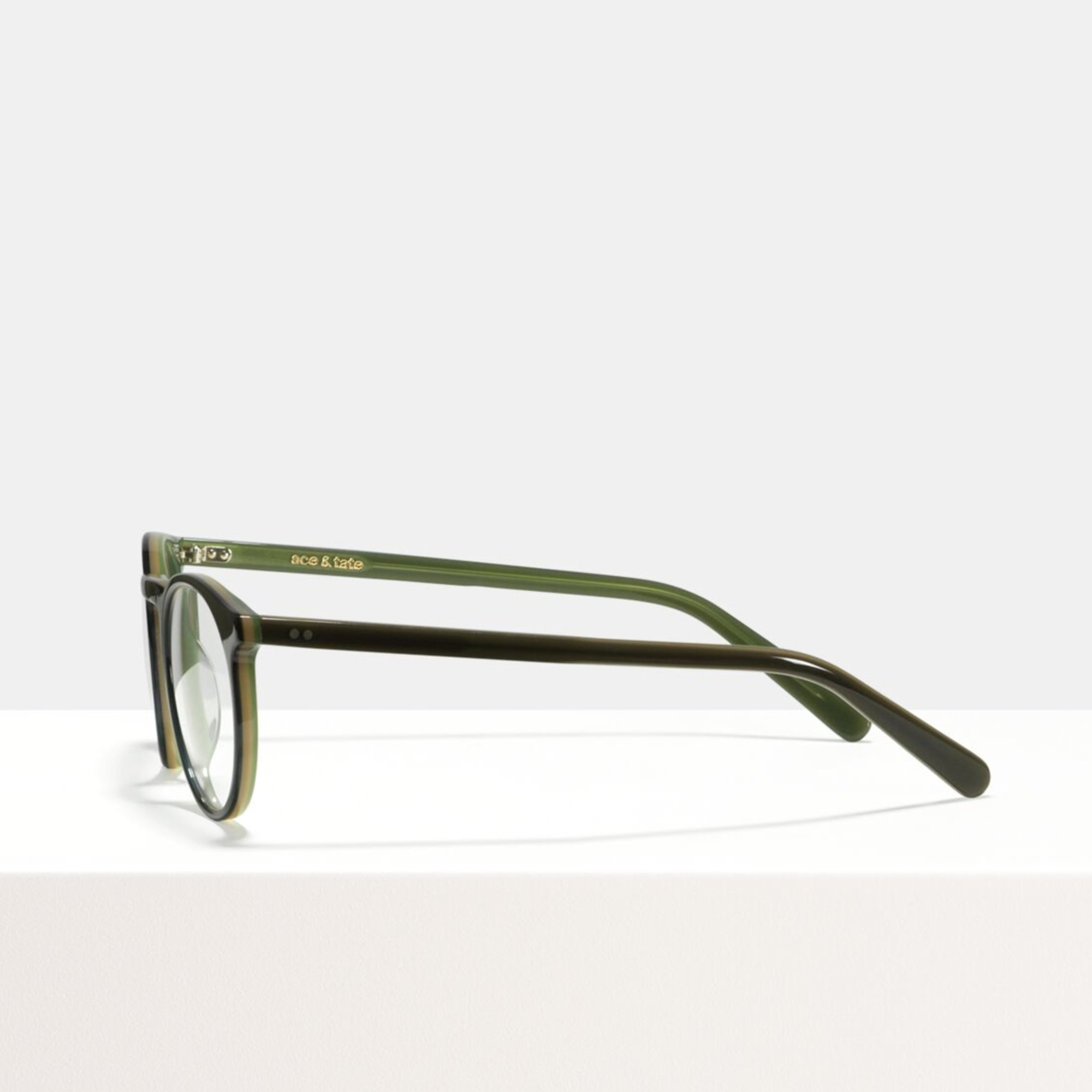 Ace & Tate Glasses | round acetate in Green, Grey