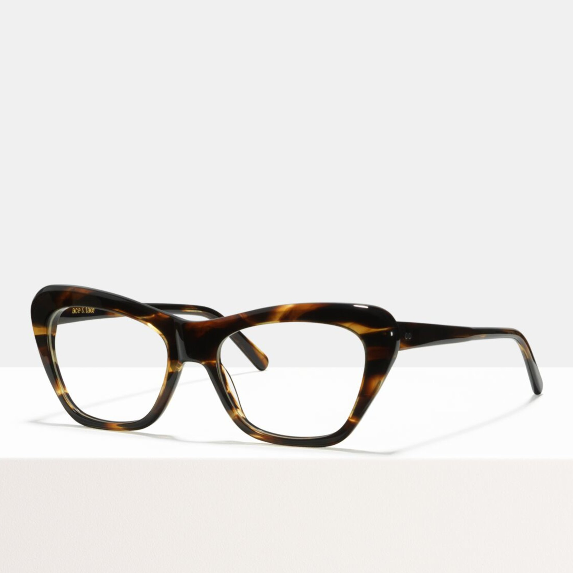 Ace & Tate Glasses | rectangle acetate in Brown