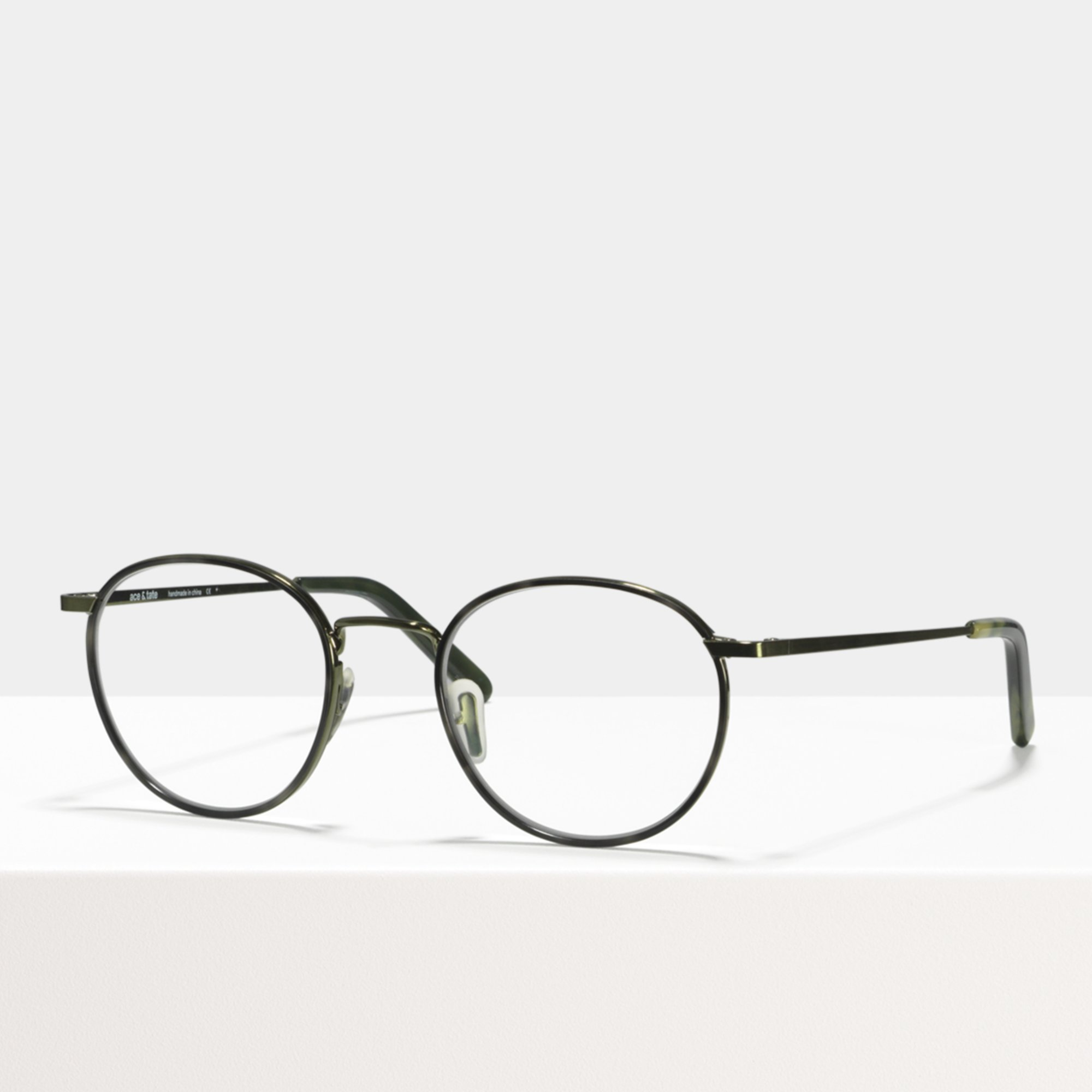 Ace & Tate Glasses | round metal in Green