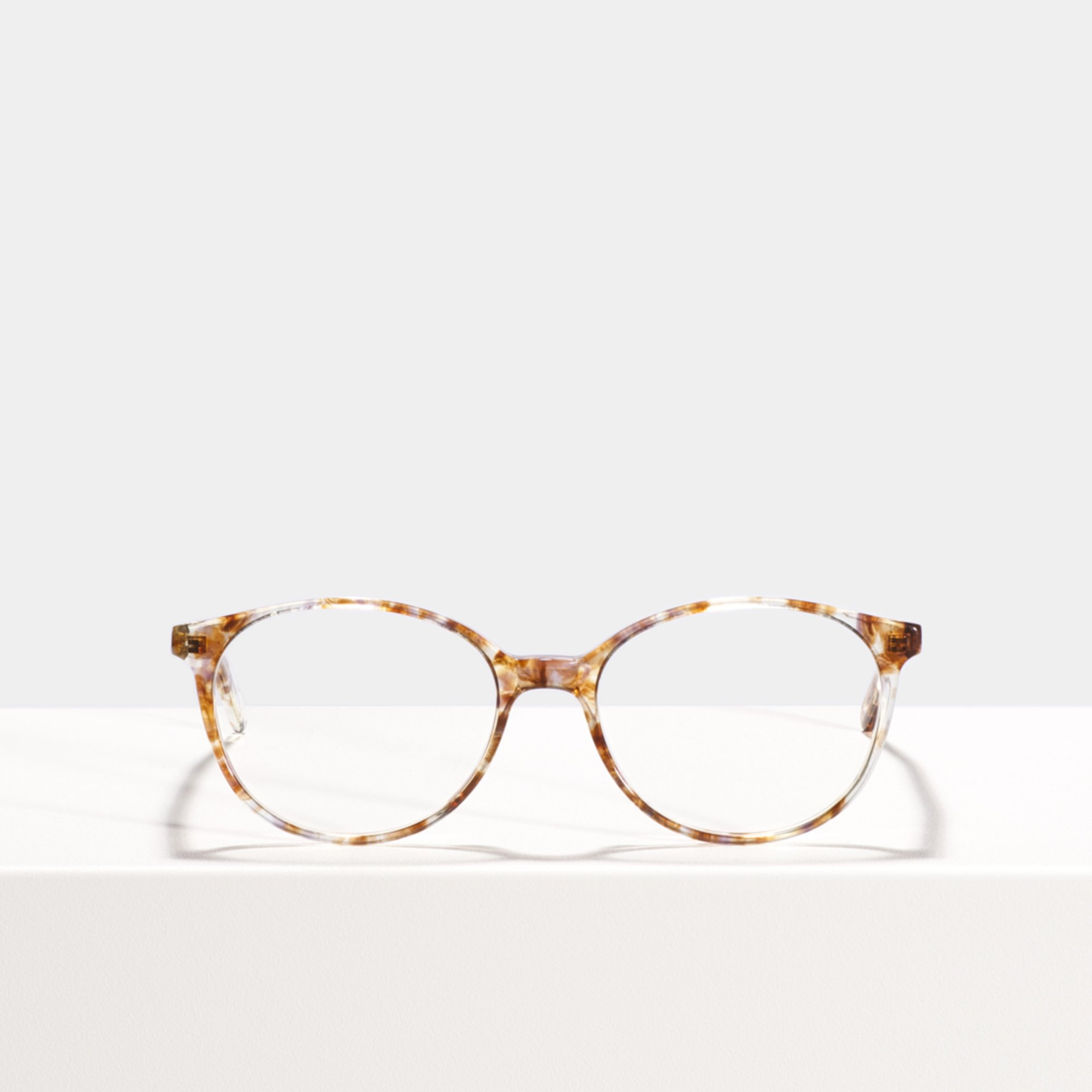 Ace & Tate Glasses | round acetate in Brown, Clear
